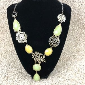 Jewelry - Gold-Toned Light Green Light Yellow Gem Necklace